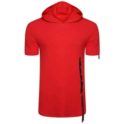 Mens Italian DG Designer Stud & Hooded Long T Shirt Slim Fit Crew Neck Red